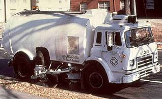A street sweeper cleans up pollutants and sediments on the street to reduce the amount of pollutants entering waterways